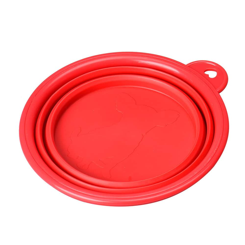 silicone dog bowl flat red